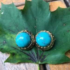 Vintage Faux Blue Turquoise Cabochon Clip Earrings